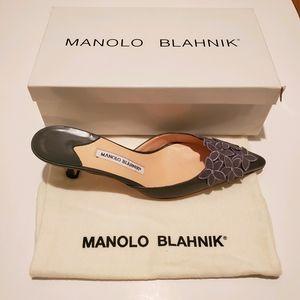 Manolo Blahnik Gray Blomiamu Kitten Heel Slide